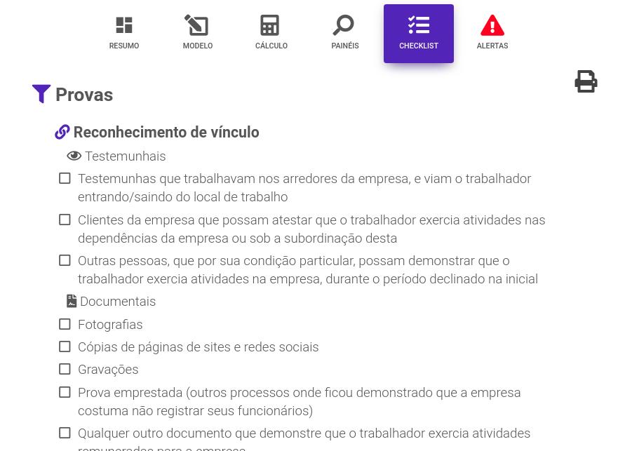 Exemplo checklist para reclamação trabalhista